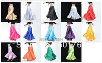 15pcs/lot, Shining Satin Long Spanish Skirt Swing dancing dress Belly Dance Costume 15 colors available
