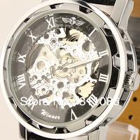 Free Shipping!Winner brand Mens Black Skeleton Automatic Watch Wrist Watch hours Black Leather Strap Drop Ship W1