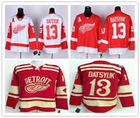 Free Shipping,Wholesale Ice Hockey Jersey,Detroit Red wings #13 Pavel Datsyuk White Jerseys,Embroidery logos,Size 48-56