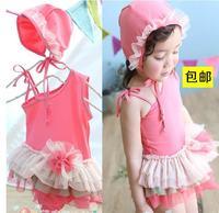 hot! girl Kids pink lace swimsuits for Little Girls halter Swimwear  beach wear free shippng