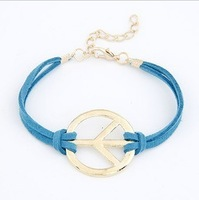 (Min. mix order is $10) Hot Sale Fashion Jewelry circle peace leather bracelet for women free shipping HeHuanB008