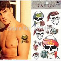 wholesale retail cartoon skull heads Good quality Temporary tattoos Waterproof tattoo stickers body art Painting whcn+