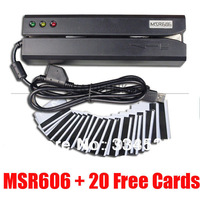 MSR606 Magnetic Stripe Card Reader Writer Encoder MSR206/609 MiniDX4 + 20 Cards DHL Free Shipping