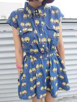 Japan HARAJUKU Style plus size Simpson wash denim slim  short sleeve waist sweet  looses one-piece dress