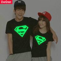 Superman T Shirt Lovers clothes Women's Men's Luminous casual O neck short sleeve t-shirts for couples S- XXXL Cotton tees NT015