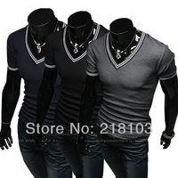 Hot Sale Men's Designer Casual V Neck T-Shirts Tee Shirt Slim Fit Tops New short sleeve t-shirt