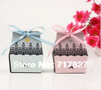 """200pcs/lot Free Shipping Most Popular Wedding Gift Boxes """"Sweet Love""""Series Wedding Candy Box Including Ribbon Decoration"""