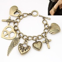 2013 fashionable summer jewelry vintage wings peach heart cross multielement bracelet Free shipping  HeHuanB020
