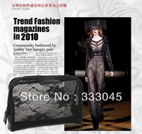 FREE shipping women fashion black lace brand cosmetic case vintage makeup organizer bag elegant clutch bag retro purse tote