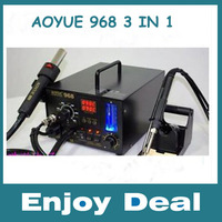 Hot  NEW 3 in1 soldering Station, hot air+ solder iron+smoke absorb,AOYUE 968 220V