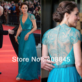 Best Selling Custom Made kate middleton Chiffon V neck Lace Sash beading floor length celebrity dresses blue evening dresses
