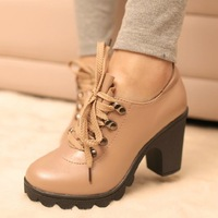 Freeshipping 2013 lady thick high heels tie ankle boots women fashion anti-slip soles platform pumps shoes