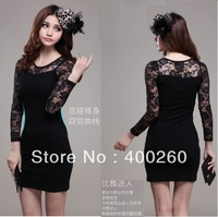 Free shipping 2013 Lace was thin large size women's Slim the base long-sleeved spring dress