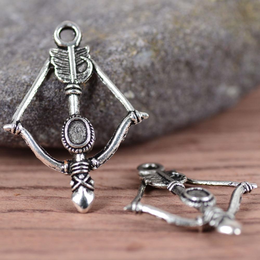 20PCS Cupid Arrow Charm Pendant Tibetan tone Silver Alloy Jewelry Finding 25x36mm