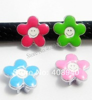 Free Shipping 50PCS 8MM Flower DIY Slide Charms A157 Zinc Alloy 100% New Fit Wristband/ Belt /make Bracelet
