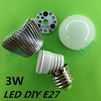 10PCS DIY 3*1W Led Lighting Accessories 3x1W 3W E27 LED High Power Energy Saving Bubble Ball Bulb Light Shell Kit Free shipping