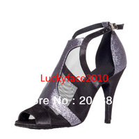 Wholesale 2013 Dance Shoes Latin Women Silver Glitter Black Mesh Ballroom Salsa Shoes Size 35,36,37,38,39,40,41