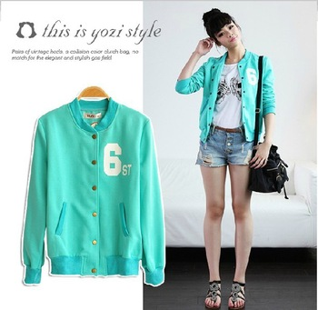 Free Shipping Women  Fashion Baseball Jersey candy color(green/pink) casual sweatshirt,  Zip Up Thick Cardigan Coat /Jacke