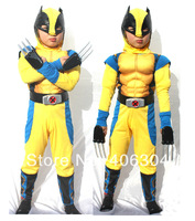 Free shipping,children Wolverine costume  ,movie charater halloween muscle costume for kid ,4-12years old,3 sizes