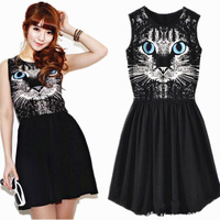 2015 Fashion Summer Spring Cat Head Pattern Black Sleeveless Dress 2014 Novelty European Style Punk Dress GM0780