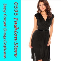 Free Shipping! Woman Black Cap Sleeve Elastic Waist  Dresses With Lace Back  HL2628