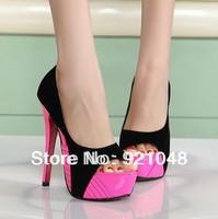 Free shipping 2013 High heels shoes platform thin heels cutout open toe shoe hot selling women's shoes