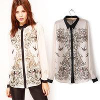 2014 New Fashion Womens Elegant Long Sleeve Shirts Leiothrix Bird Print Chiffon Casual Ladies Blouses blusas PS0134
