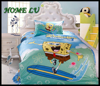 100% cotton blue Spongebob favourite animal print screen 3pcs cute baby boy bedding set(DN13)