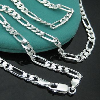 925 Ожерелье - PBN102 / Мужская стерлингового серебра 925 Фигаро цепи ожерелье 4мм ...