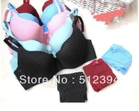 Free Shiping fashion Dot thin large size BCD cup seamless bra one piece adjusted gather push up women's underwear sexy bra 595B