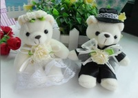 Free shipping wholesale cartoon sitting bear wedding couples bear bouquet doll pendant wedding gifts (12pcs/lot) S442002