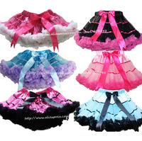 Retail 3M-15T Girls TuTu Skirt Children Baby Turquoise With Lavender Ribbon Soft Chiffon Princess Pettiskirt Free Shipping 1 pcs