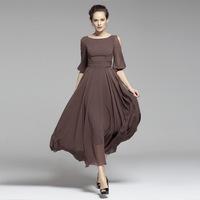 2014 Summer new arrival slit neckline three quarter sleeve slim long design dress chiffon one-piece dress ultra long plus size