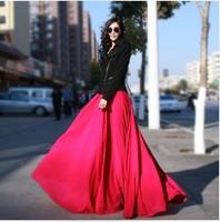 5 colors Fashion women's Chiffon full skirt vintage bohemian long skirts high waist maxi skirts length 90-110cm free shipping