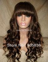 Cheap black wavy human hair lace front wig with bang