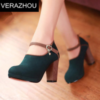 2015 fashion wild high-heeled shoes thick heel shoes color block decoration belt button size9 and 9.5,10  unique pumps red sole