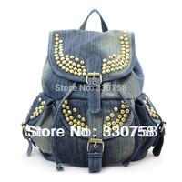 Free Shipping Women Vintage Rivet Denim Bags Back Pack High School College Student Casual Big Bag For Girls 2014