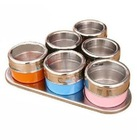 Color stainless steel magnetic castor seasoning box condiment bottles of 6 taste suit kitchen supplies Herb & Spice Tools ,7pcs(China (Mainland))