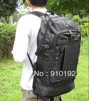 Black nylon  male travel backpack large capacity waterproof rainproof double-shoulder mountaineering bag free shipping.