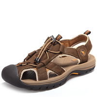 New summer casual mens outdoor sandal leather sports hiking sandals toe cap covering beach sandals brown plus sizes
