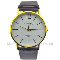 new 2014 1PCS Classic Brown Leather strap watches And White Dial Analog Quartz Dress Wrist Watch For Boys Men Gift M017