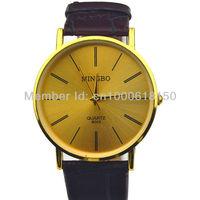 2014 Fashion Men Quartz Dress Watches Men's Brown Leather Straps Gold Face Casual Clock Male Luxury Wristwatch relogio masculino