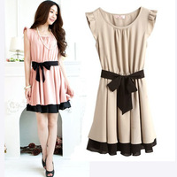 2013 Perfect Combination Women's Lady Summer New Fashion Chiffon Short Lotus Sleeve Black Belt Dress Novelty Dress