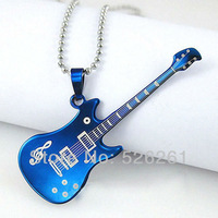 Free Shipping ! Hot Sale Fashionable Jewelry New Gold Silver Guitar Shaped Bead Chain Stainless Steel Pendant Necklace Pendant