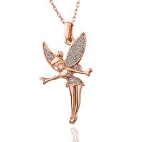 18K Gold Angel Pendant Necklace Rhinestone Cheap Women Alloy Jewelry Free Shipping