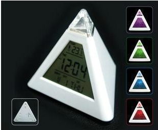 Free shipping 7 LED Color Pyramid Digital LCD Creative Alarm Clock Calendar Thermometer Clock Mini Desktop Multi-function Clock(China (Mainland))