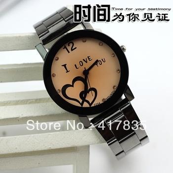 Free Shipping 2013 Hot double Loving Heart Women's Watch Fashion Ribbon Quartz Retro sSports Watch Brands