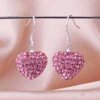 Free Shipping 925 Silver Earring,Shamball Disco Ball Bead,Fashion Earrings SBE071