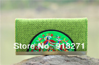 Unique Women's Clutch Wallet Purse Credit Card Holder Green Wallets  Bags Handbags Linen Handicrafted Festival Gift