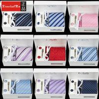 100% Silk Men's Ties Necktie Plaid Stripe  gift box 46 models Tie+ Cufflink + Tie clip +Hankie+Gift Box